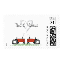 Red Tractor Wedding Invitation Postage