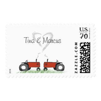 Red Tractor Wedding Invitation Postage