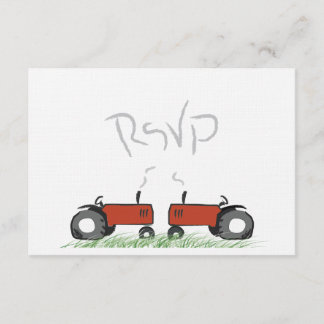Red Tractor Wedding RSVP Card