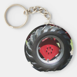 red tractor wheel key chain
