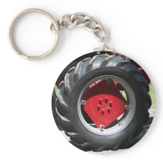 red tractor wheel keychain