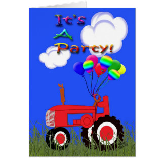 Red Tractor with Balloons Party Invitation Card