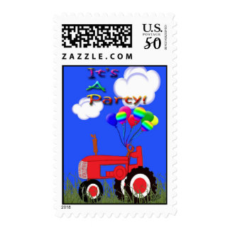 Red Tractor with Balloons Party Invitation Postage