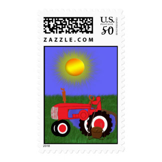 Red Tractor with Fishing Pole by Pond Postage