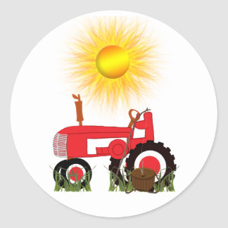 Red Tractor with Fishing Pole  Sticker