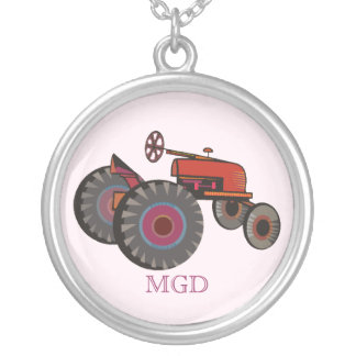 Red tractor with monogram silver plated necklace