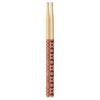 Red traditional Baltic Latvian Pattern Design Drum Sticks