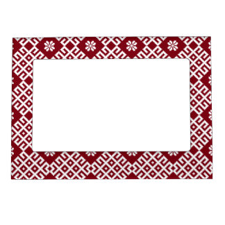 Red traditional Baltic Latvian Pattern Design Magnetic Photo Frame