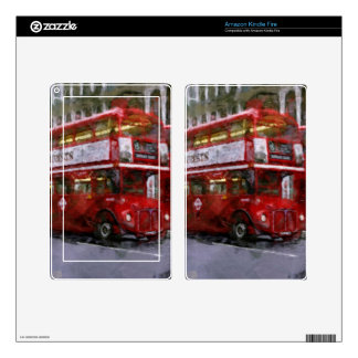 Red Trafalgar Square London Double-decker Bus Decal For Kindle Fire