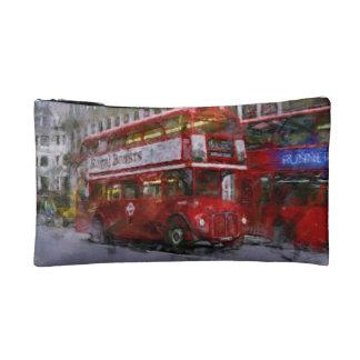 Red Trafalgar Square London Double-decker Bus Makeup Bag