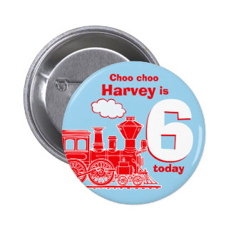 Red train birthday name and age button / badge