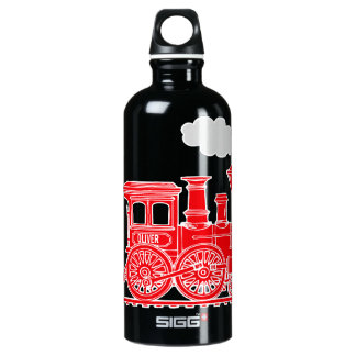 Red train kids name loco drinks bottle