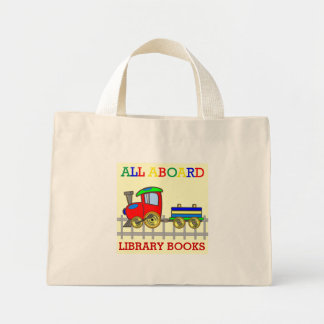 Red Train Library Books Kids Tote Bag