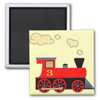 """Red Train No. 3"" Fridge Magnet SQUARE"