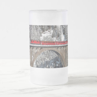 Red Train Pine Snow Covered Mountains Switzerland 16 Oz Frosted Glass Beer Mug