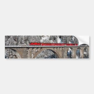 Red Train Pine Snow Covered Mountains Switzerland Car Bumper Sticker