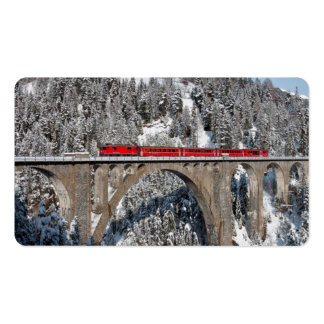 Red Train Pine Snow Covered Mountains Switzerland Double-Sided Standard Business Cards (Pack Of 100)