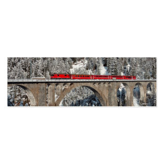 Red Train Pine Snow Covered Mountains Switzerland Double-Sided Mini Business Cards (Pack Of 20)