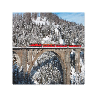Red Train Pine Snow Covered Mountains Switzerland Stretched Canvas Prints