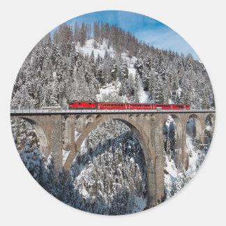Red Train Pine Snow Covered Mountains Switzerland Classic Round Sticker