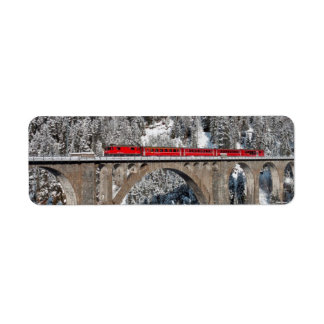 Red Train Pine Snow Covered Mountains Switzerland Label