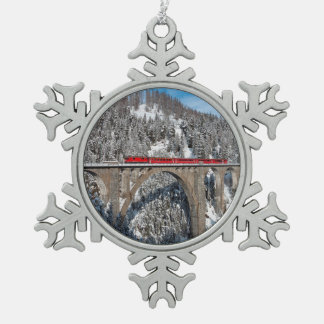 Red Train Pine Snow Covered Mountains Switzerland Ornaments