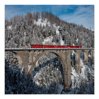 Red Train Pine Snow Covered Mountains Switzerland Posters