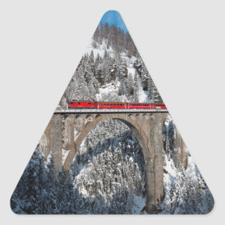 Red Train Pine Snow Covered Mountains Switzerland Triangle Sticker