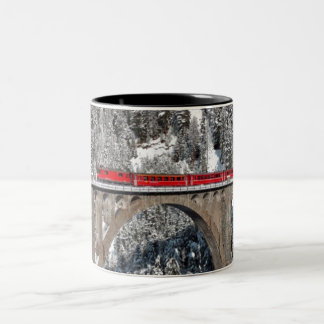 Red Train Pine Snow Covered Mountains Switzerland Two-Tone Coffee Mug