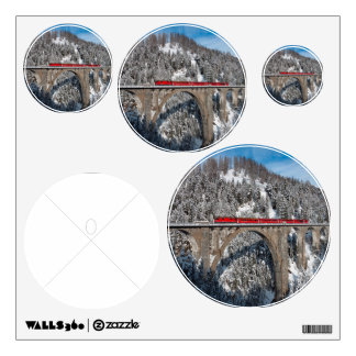 Red Train Pine Snow Covered Mountains Switzerland Wall Sticker