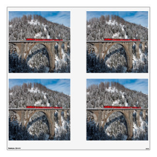 Red Train Pine Snow Covered Mountains Switzerland Wall Decals