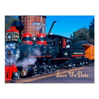 Red Train Save The Date Postcard