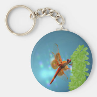 Red Transparent Dragonfly on Umbrella Plant Keychain