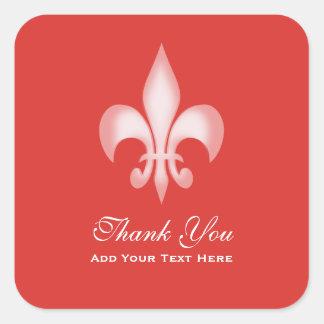 Red Transparent Fleur de Lis Thank You Square Sticker