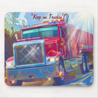Red Transporter Truck Highway Driving Art Mousepad