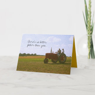 Red Trator Father's Day Card