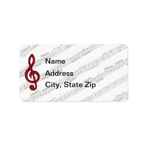 Red Treble Clef Address Label