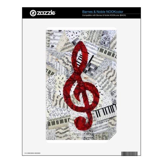 Red Treble Clef Barnes & Noble NOOKcolor Skin For NOOK Color