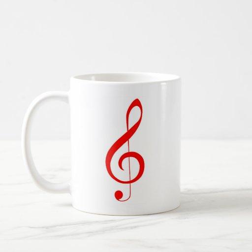 Treble Maker Coffee Mug : Red Treble Clef Coffee Mug Zazzle