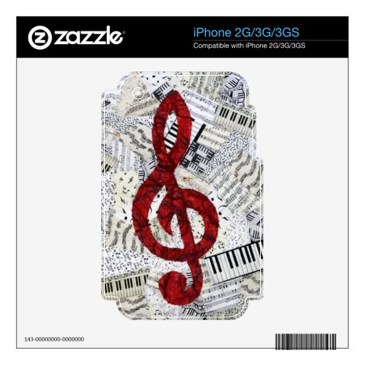Red Treble Clef iPhone 2G/3G/3GS iPhone 3 Decals