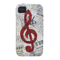 Red Treble Clef Iphone 4 Vibe iPhone 4/4S Covers