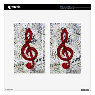 Red Treble Clef Kindle Fire Skin For Kindle Fire