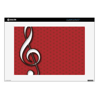 Red Treble Clef Laptop Skin