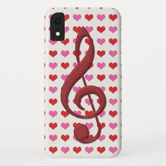 Red Treble Clef Love Hearts Music iPhone XR Case