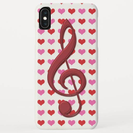 Red Treble Clef Love Hearts Music iPhone XS Max Case