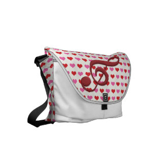 Red Treble Clef Love Hearts Music Small Messenger Bag
