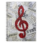 Red Treble Clef Music Notebook