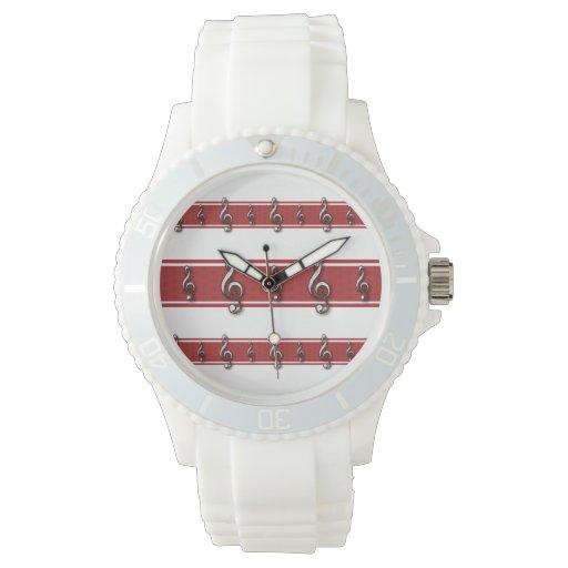 Red Treble Clef Music Theme Wristwatch