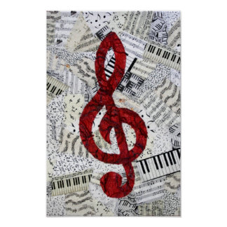 Red Treble Clef Poster