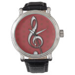 Red Treble Clef Watch